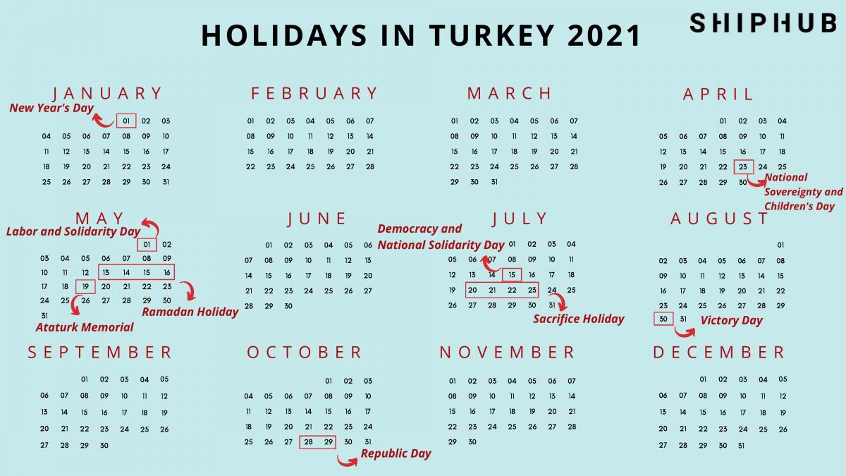 Public holidays in Turkey 2021