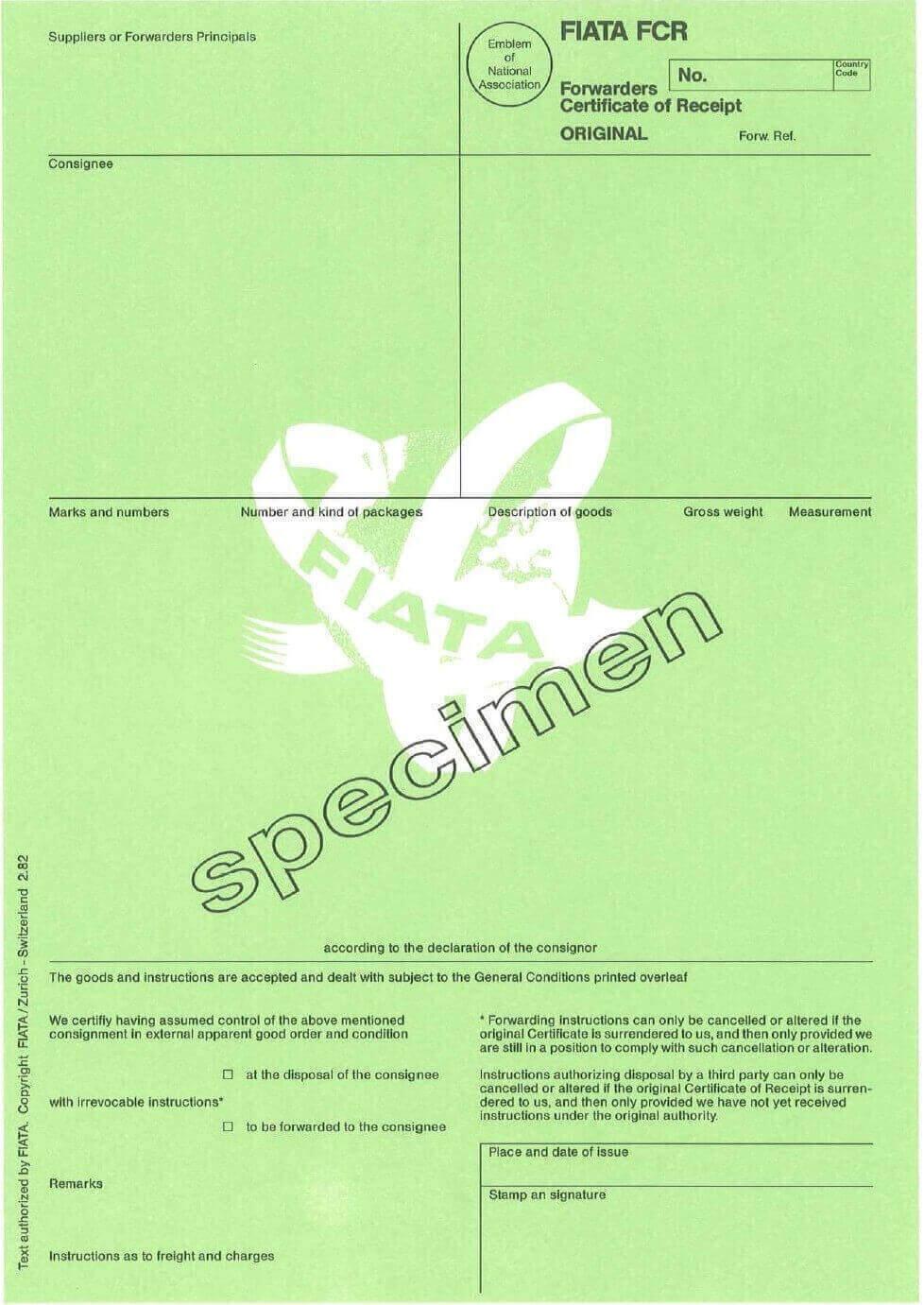 FCR Forwarders Certificate of Receipt