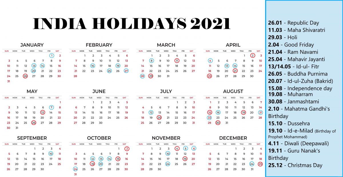 India National Holidays 2021 – gazetted and religious holidays
