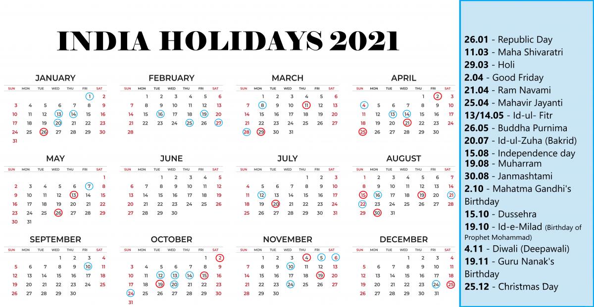 India national holidays 2021 - calendar