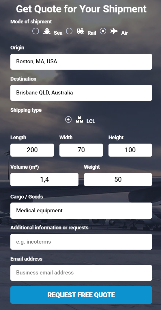 Shipping from the US to Australia get a quote