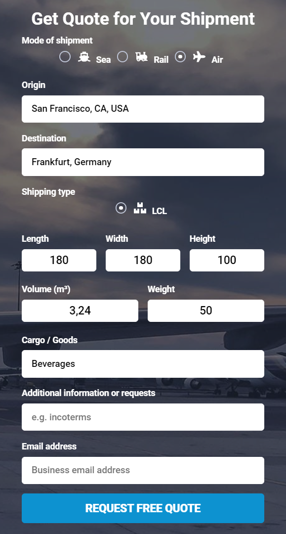 Shipping from the US to Germany quote
