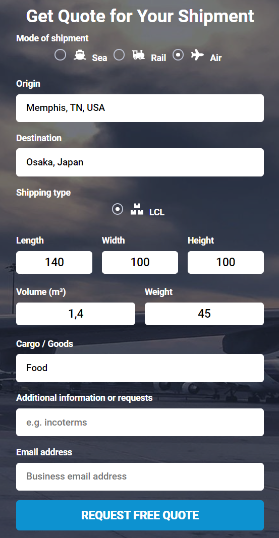 Shipping from the US to Japan get a quote