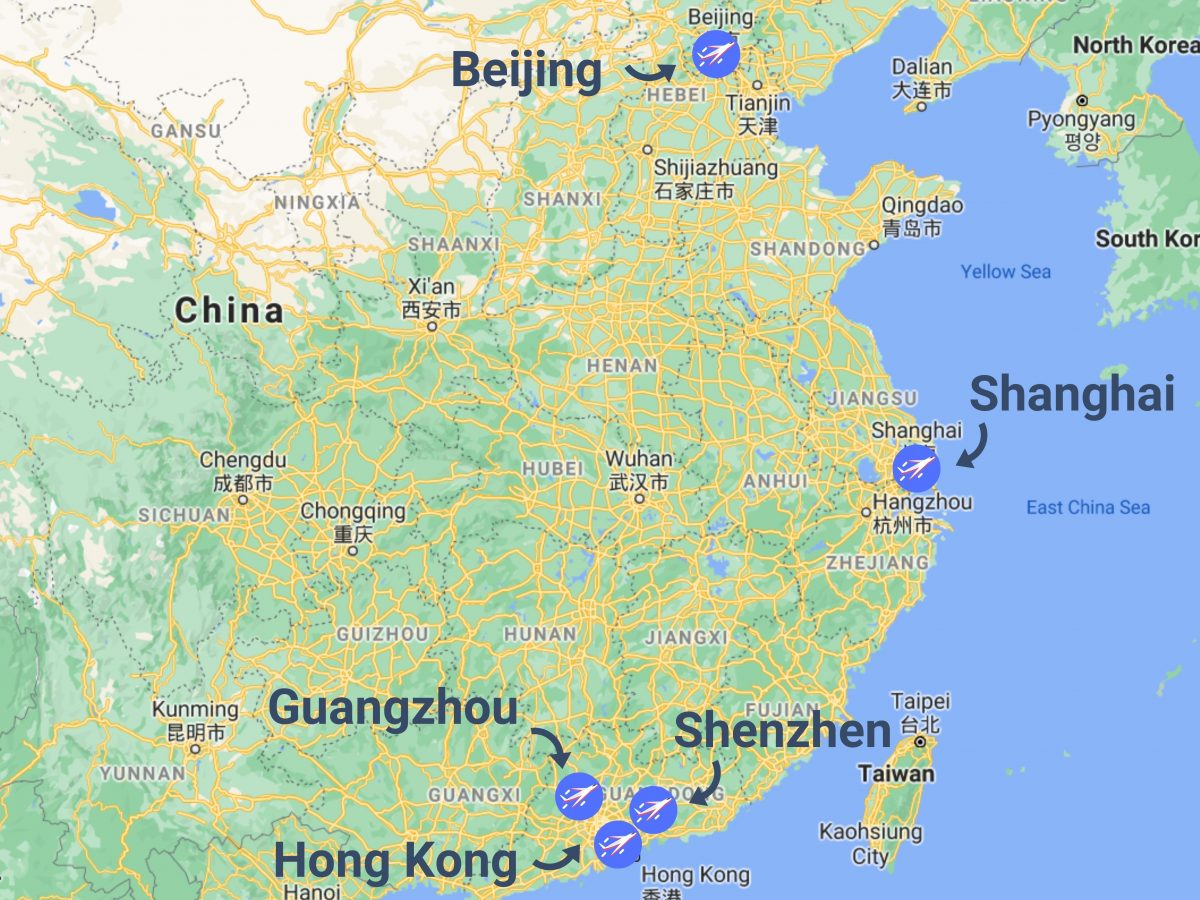 Shipping from China to Australia - Airports in China