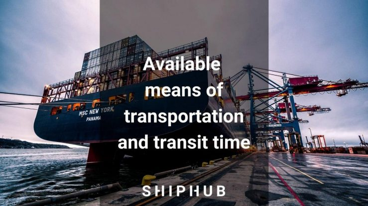 Available means of transportation and transit time