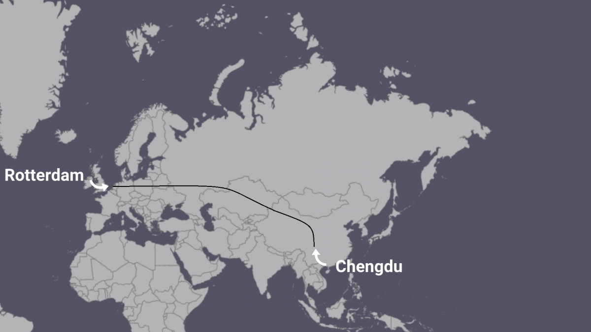 Rail route from China to the Netherlands