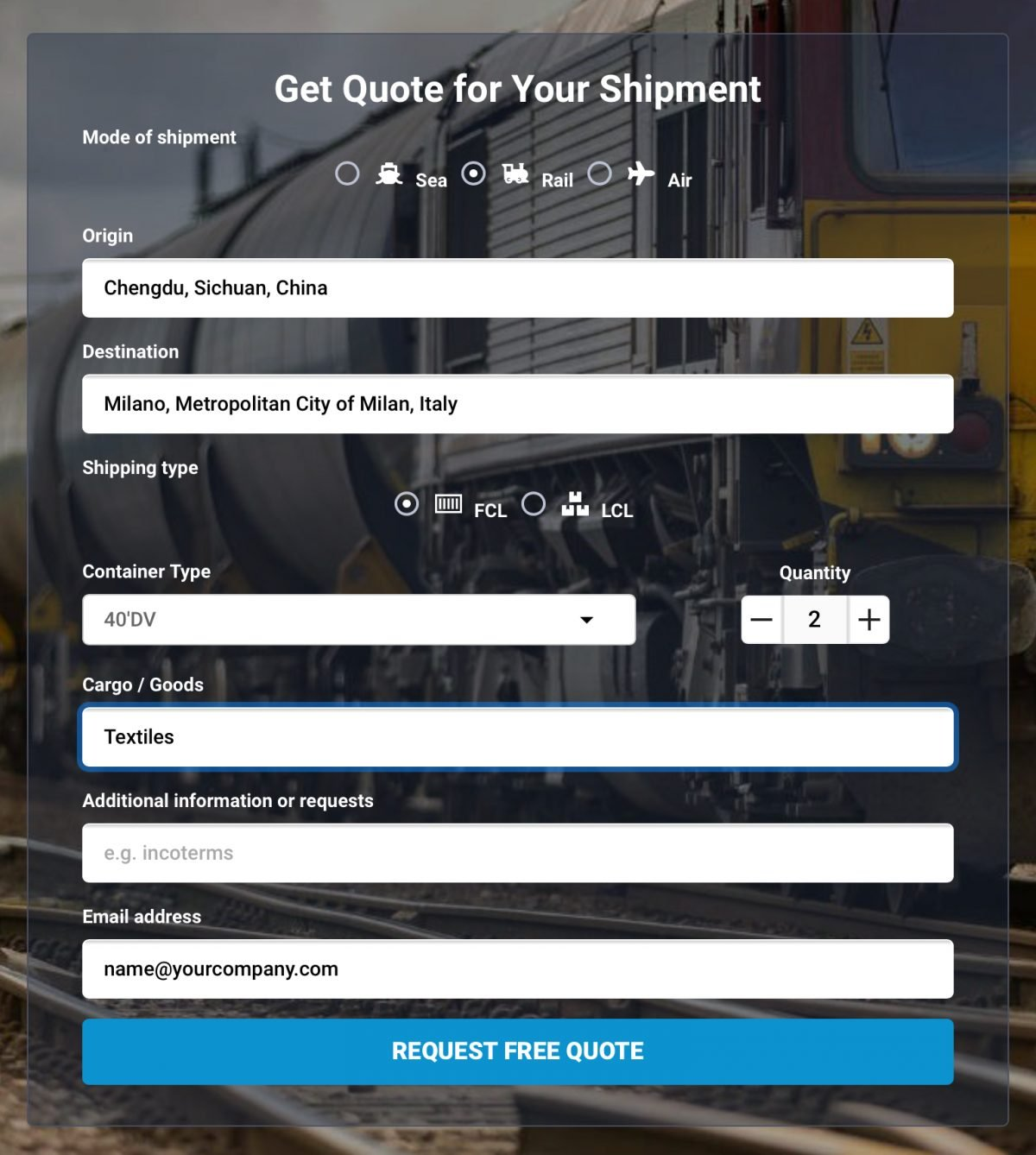 Request a free quote from China