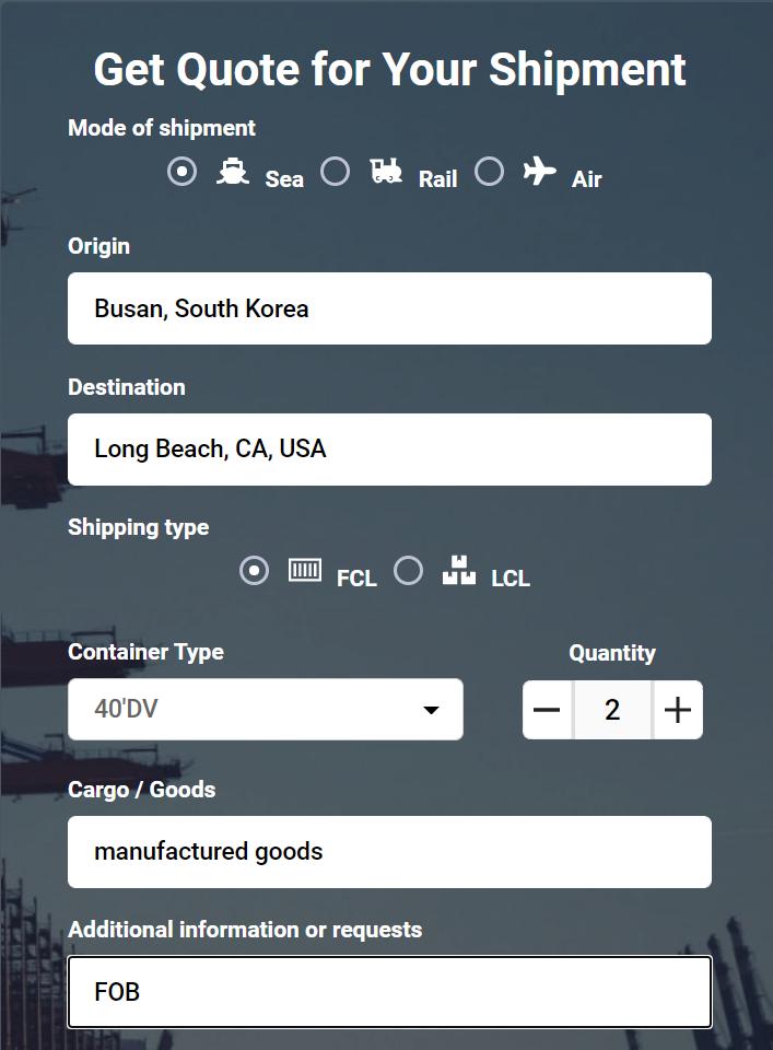 Shipping from Busan to Long Beach