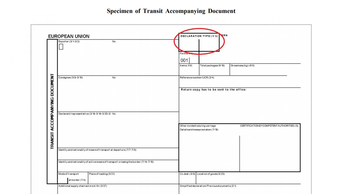 TAD T1 declaration transit
