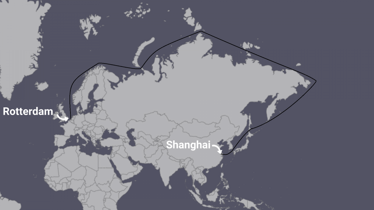 Arctic route from China to the Netherlands