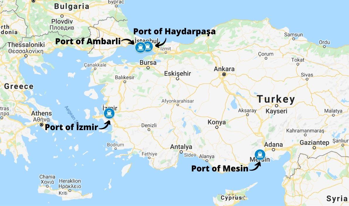Main cargo seaports in Turkey