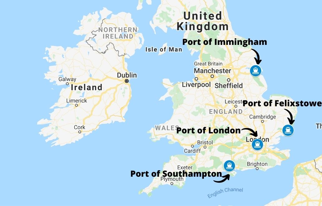 Main cargo seaports in the UK